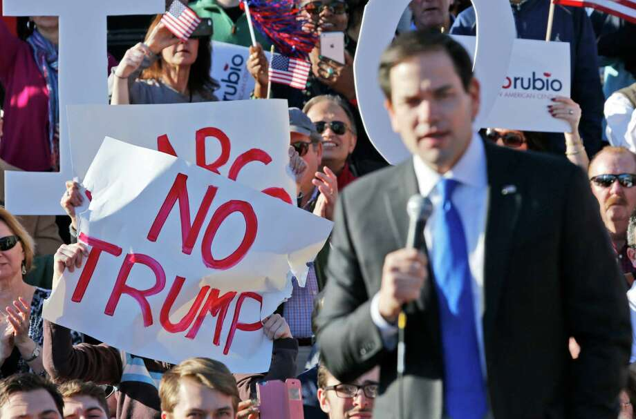 Sen. Marco Rubio, at a rally in Richmond, Va., continued his attack on Donald Trump, criticizing the GOP front-runner's unwillingness to disavow white supremacist David Duke's endorsement. Photo: Steve Helber, STF / AP