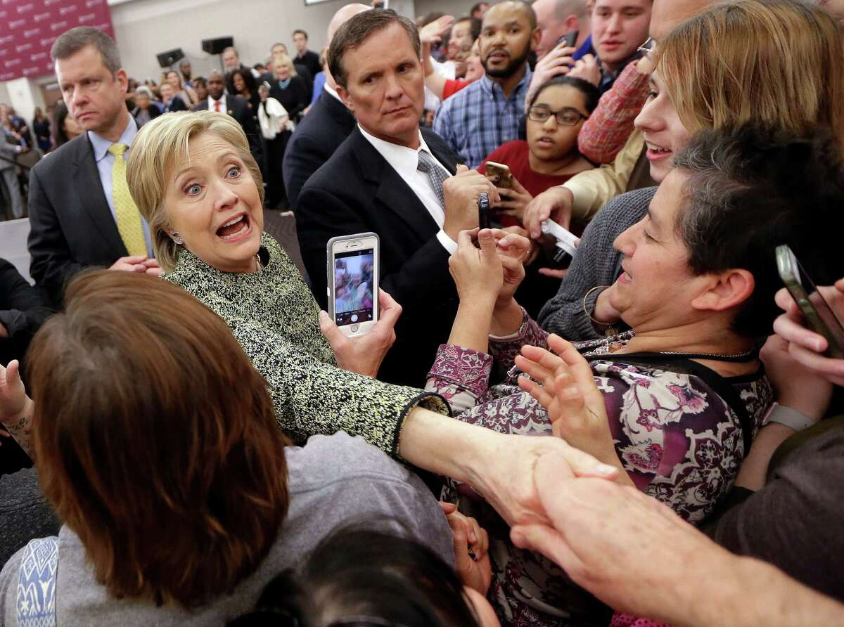 Democratic presidential candidate Hillary Clinton greets supporters after speaking at Meharry Medical College Sunday, Feb. 28, 2016, in Nashville, Tenn. (AP Photo/Mark Humphrey) ORG XMIT: TNMH104