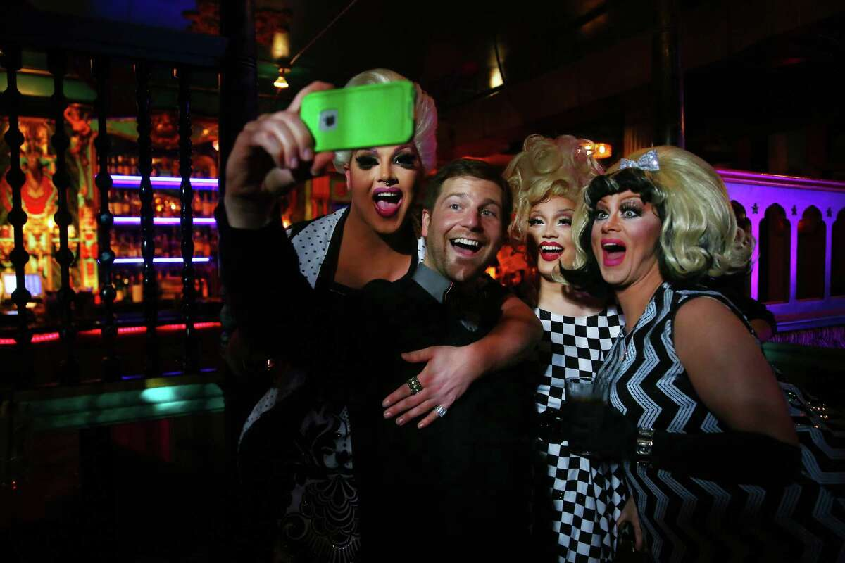 John Huddlestun snaps a selfie with Isabella Extynn, Ruby Bouché and Tipsy Rose Lee after the Mimosas with Mama show on Sunday, Feb. 28, 2016, at The Unicorn in Capitol Hill.