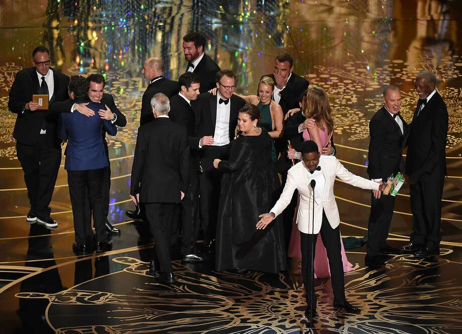 Actor and host Chris Rock  speaks as members of the cast and producers of Spotlight celebrate receiving the award for Best Picture at the 88th Oscars on February 28, 2016 in Hollywood, California. Photo: Mark Ralston, AFP/Getty Images