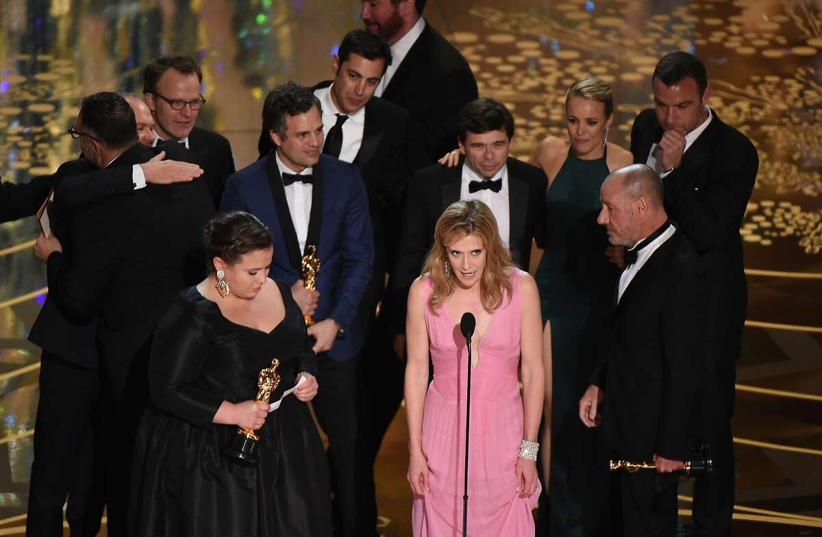 Members of the cast and producers of Spotlight accept the award for Best Picture at the 88th Oscars on February 28, 2016 in Hollywood, California.