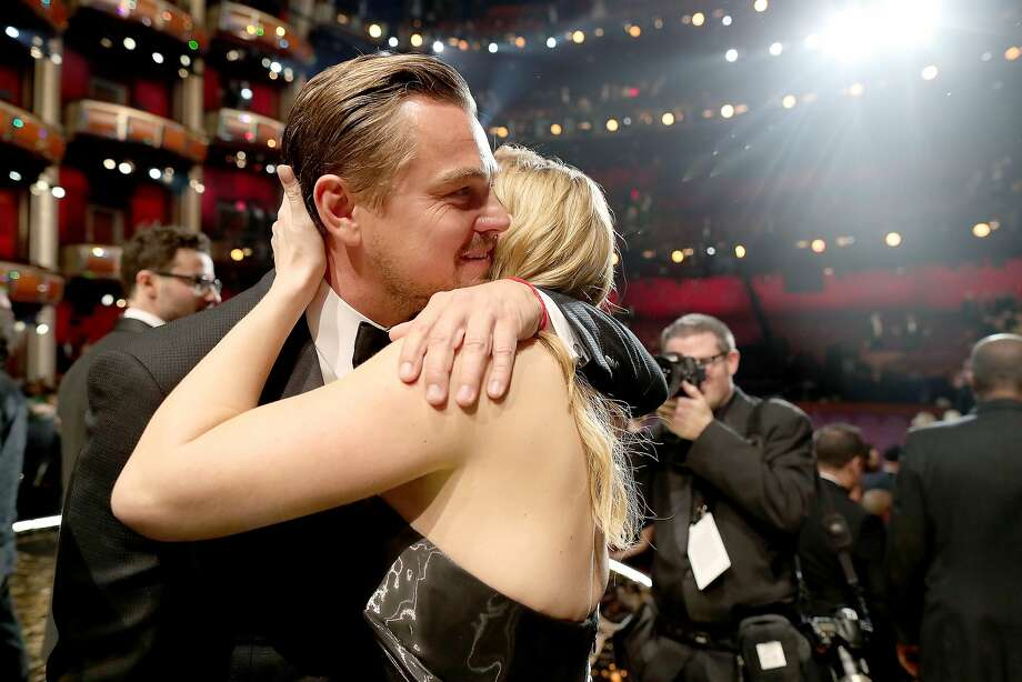 Actors Leonardo DiCaprio and Kate Winslet embrace at the 88th Annual Academy Awards at Dolby Theatre on February 28, 2016 in Hollywood, California. Photo: Christopher Polk, Getty Images