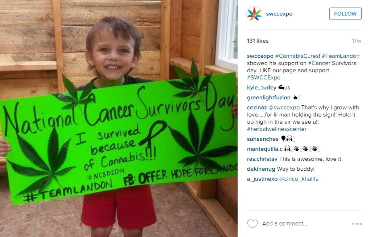 """""""#CannabisCures! #TeamLandon showed his support on #Cancer Survivors day. LIKE our page and support #SWCCExpo,"""" @swccexpo."""