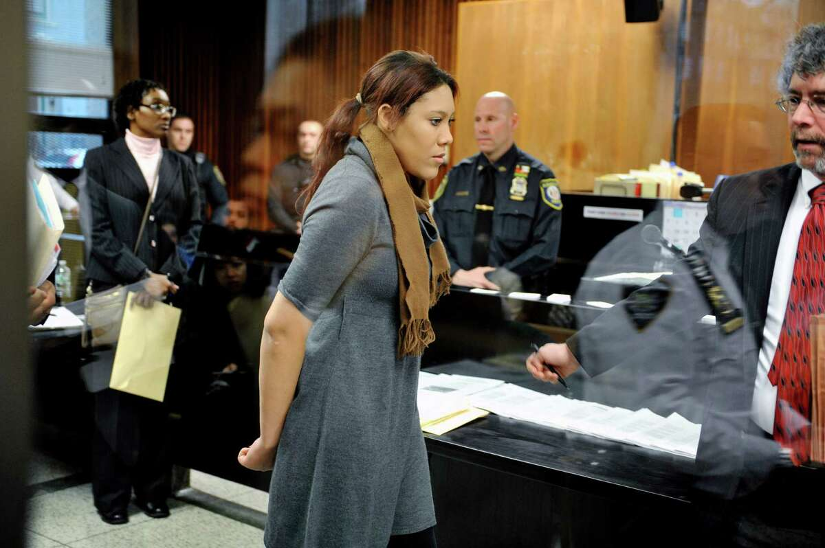 Ariel Agudio leaves the front of the judge's bench at Albany City Criminal Court on Monday, Feb. 29, 2016, following her arraignment on charges related to an assault that took place on a CDTA bus on the University at Albany campus. (Paul Buckowski / Times Union)