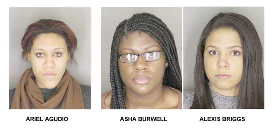 The Albany County District attorney's office released these mugshots of Ariel Agudio of Huntington, Suffolk County; Asha Burwell of Huntington Station, Suffolk County; and Alexis Briggs of Elmira Heights, Chemung County, all 20