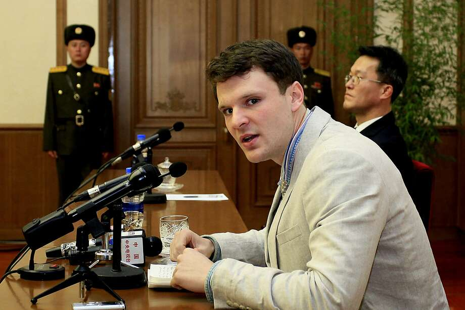 Otto Warmbier speaks during a press conference in Pyongyang. North Korea announced last month that it had arrested the 21-year-old University of Virginia undergraduate student. Photo: Kim Kwang Hyon, Associated Press