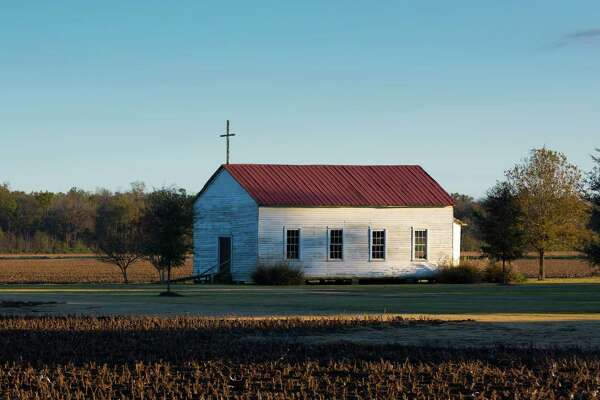 UNITED STATES - NOVEMBER 19: Quaint chapel in a field in bible belt Mississippi, USA