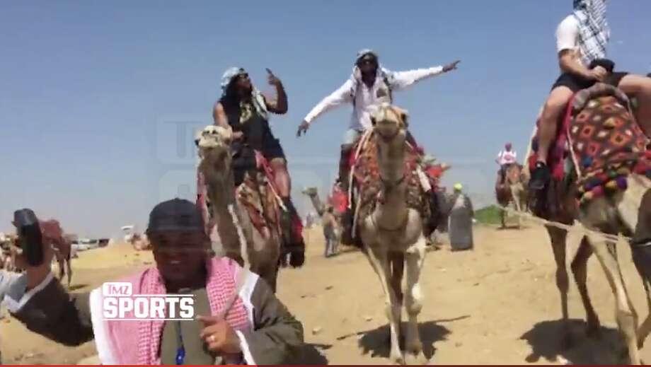 Marshawn Lynch enjoys a camel ride in Egypt. Photo: TMZSports.com, Screenshot