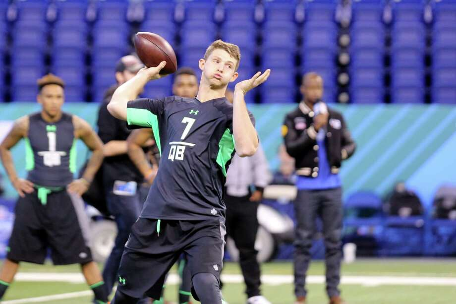Louisiana Tech quarterback Jeff Driskel performs a drill at the NFL football scouting combine Saturday, Feb. 27, 2016, in Indianapolis. (AP Photo/Gregory Payan) Photo: Gregory Payan, Associated Press / AP