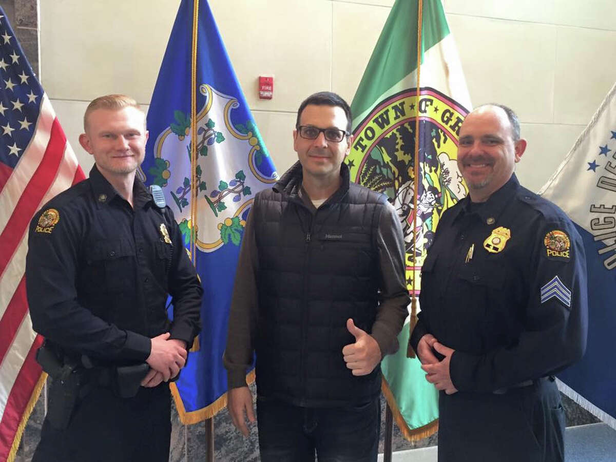 Left to right: Master Police Officer JD Smith, Matt Orsaia and Sgt. John Slusarz. Orsaia thanked the police officers for their timely medical assistance.