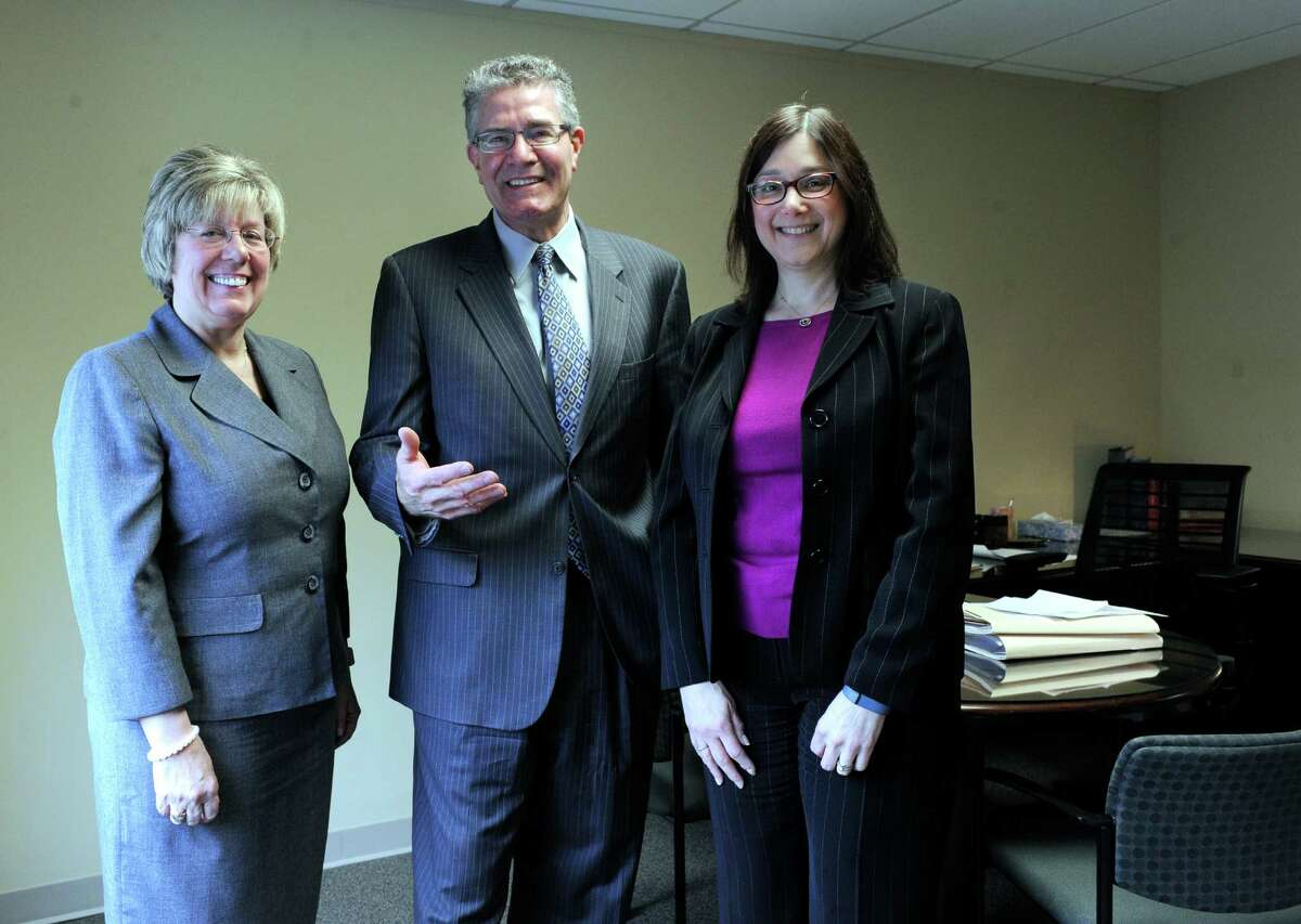 Danbury Attorney Larry Riefberg with the two other attorneys in his newly established law firm, Loretta Glazier, left, and Ellen Pollack, Monday, February 29, 2016.