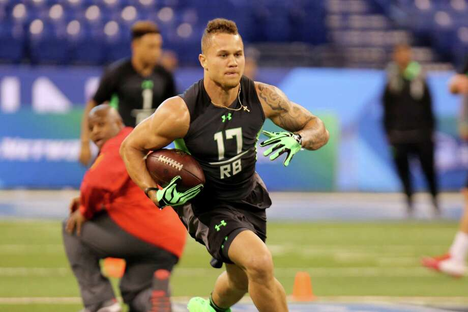 California running back Daniel Lasco during a drill at the NFL football scouting combine Friday, Feb. 26, 2016, in Indianapolis. (AP Photo/Gregory Payan) Photo: Gregory Payan, Associated Press / AP