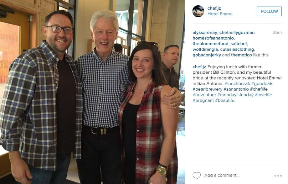 Bill Clinton stops by the The Pearl on Monday, Feb. 29, 2016. Photo: Instagram/chef.jz