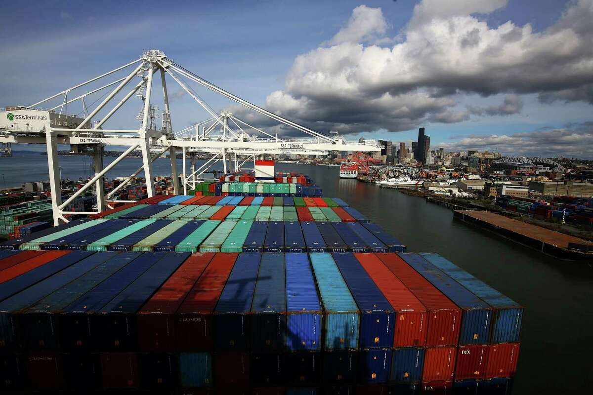 The CMA CGM Benjamin Franklin, the largest container ship ever to call on a U.S. port, arrived to Seattle's Terminal 18 on Monday, Feb. 29, 2016. The vessel is 1,300 feet long, 177 feet wide, 197 feet high and can carry up to 18,000 containers. It is scheduled to leave Tuesday morning for China.