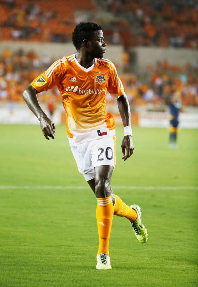 HOUSTON- JULY 25: Rasheed Olabiyi #20 of the Houston Dynamo runs on the field against the Los Angeles Galaxy at BBVA Compass Stadium on July 25, 2015 in Houston, Texas. (Photo by Scott Halleran/Getty Images) Photo: Scott Halleran, Scott Halleran/ Getty Images