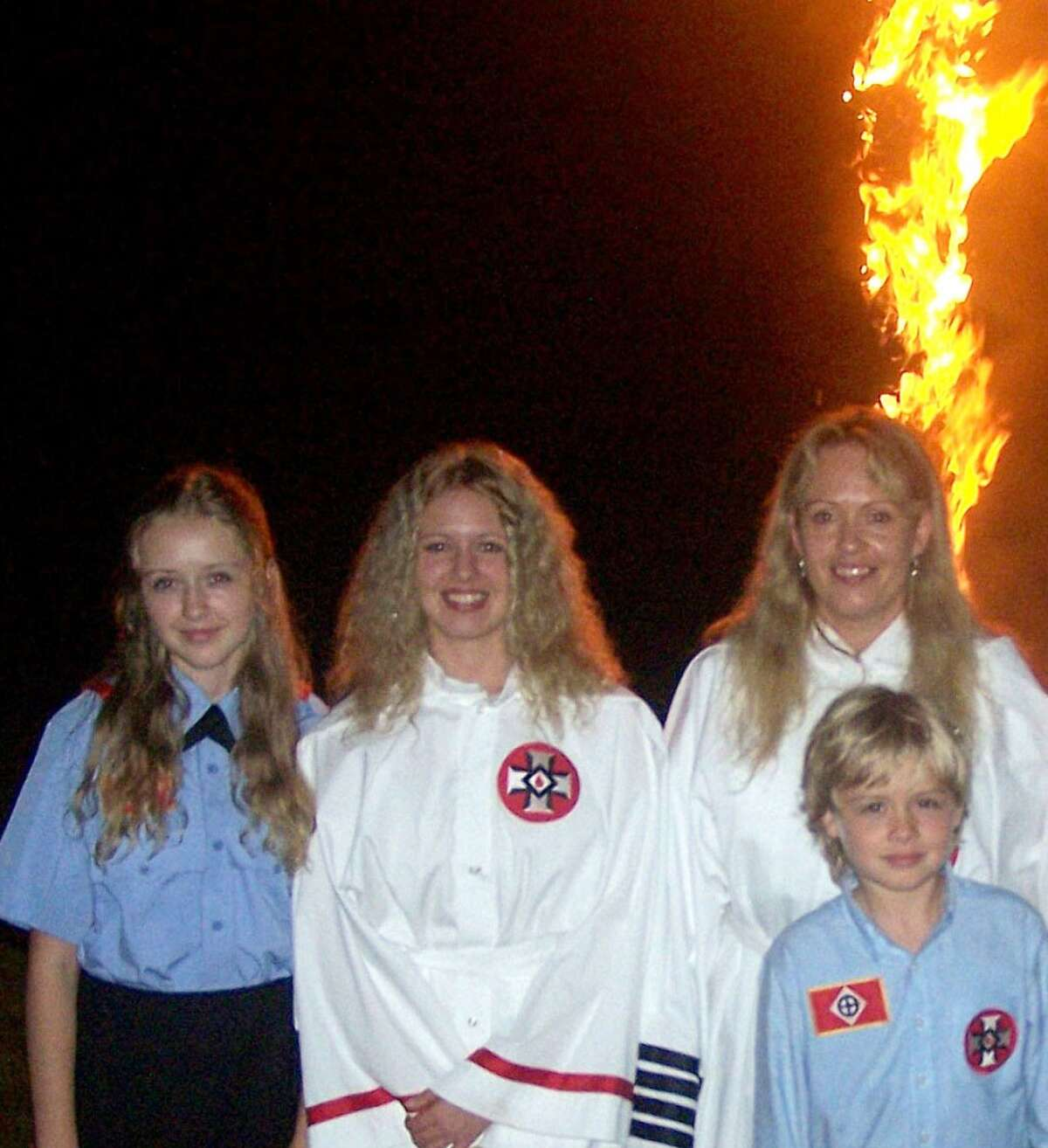 ARKANSAS Chapters in Vanndale, Harrison. Here Shelby, Charity, Rachel and Andrew Pendergraft, attend a Cross Lighting ceremony at the Christian Revival Center in 2008 in Bergman, Arkansas. Charity and Shelby are not allowed to mix with people of other races, and have been indoctrinated into believing they must marry a white man and bear children to help white people from becoming extinct.