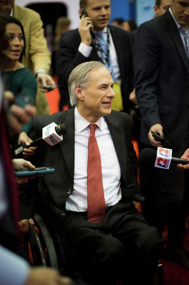 Texas Governor Greg Abbott meets with the media at the Spin Room hours before the Republican presidential primary debate at the University of Houston, Thursday, Feb. 25, 2016, in Houston. Photo: Marie D. De Jesus, Houston Chronicle / © 2016 Houston Chronicle