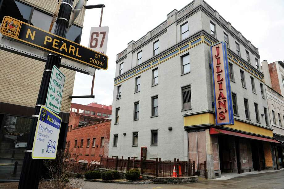 A view of the building on North Pearl Street that once housed Jillian's, seen here on Monday, Feb. 29, 2016, in Albany, N.Y.   (Paul Buckowski / Times Union) Photo: PAUL BUCKOWSKI / 10035625A