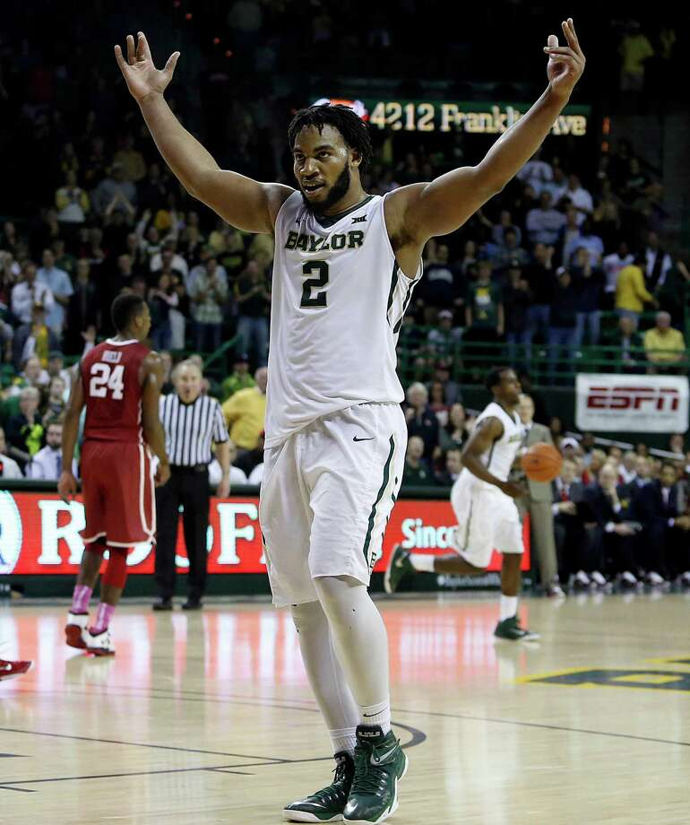 Baylor forward Rico Gathers (2) reacts after the team's 69-58 win against Oklahoma in an NCAA college basketball game, Saturday, Jan. 24, 2015, in Waco, Texas. (AP Photo/Jerry Larson) Photo: Jerry Larson, Associated Press / FR91203