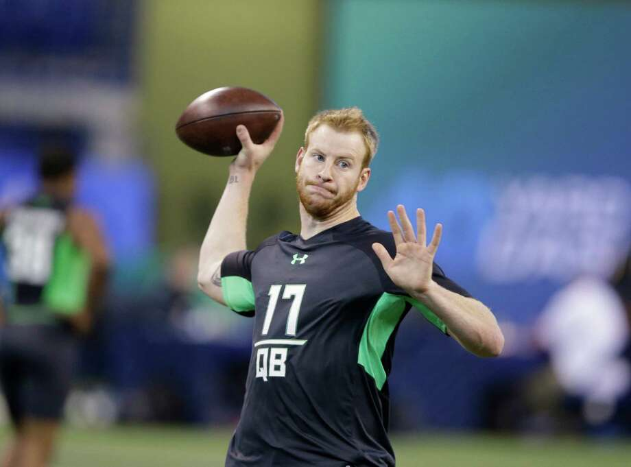 The days of Wentz as a small-school curiosity are over, replaced by him cementing himself as a potential face of a franchise. Wentz ran the 40-yard dash in 4.77 seconds, but, most importantly, flashed a strong arm and sound footwork in drills. Cal quarterback Jared Goff showed off touch and a quick release and towering Memphis quarterback Paxton Lynch displayed athleticism. Both had their moments but weren't as impressive overall as Wentz. Photo: Darron Cummings, AP / AP