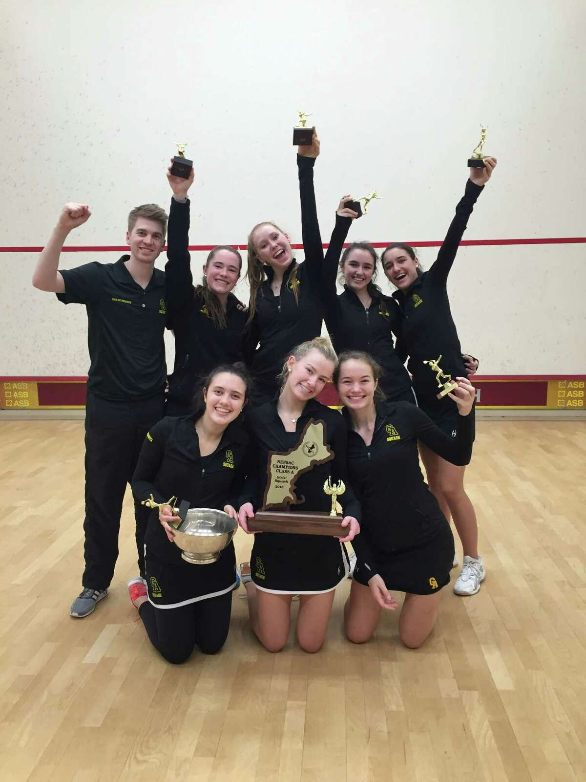 The Greenwich Academy squash team won the New England Interscholastic Squash Association Division A championship for the fifth straight season Sunday at Phillips Exeter Academy.