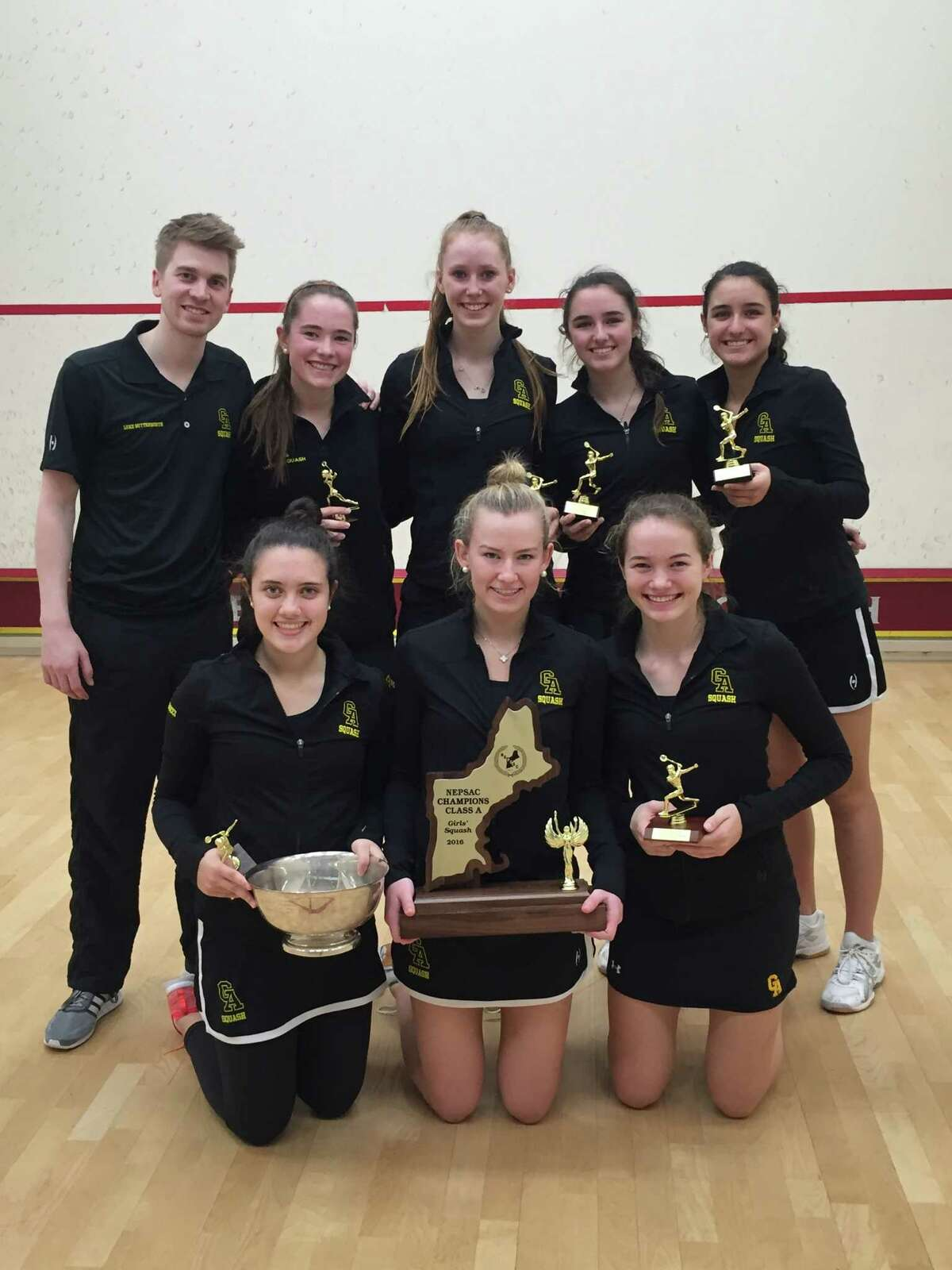 Greenwich Academy won the New England Interscholastic Squash Association Division A title for the fifth straight season Sunday at Phillips Exeter Academy.