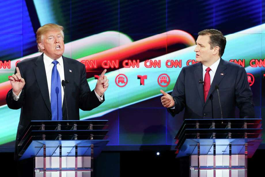 Donald Trump and Ted Cruz argue while answering a question during the Republican Presidential Primary Debate at the University of Houston Thursday, Feb. 25, 2016. After winning the party's nomination, Trump has tried to end Cruz's political career. Photo: Gary Coronado, Houston Chronicle / © 2016  Houston Chronicle