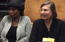 Judy Long and Monica Bell came to the Tenderloin for a memorial service for Long's friend, Leroy Samuels.