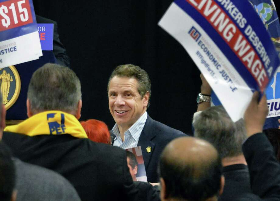 Governor Andrew Cuomo arrives at the Albany Labor Temple for a Drive for $15 rally Thursday Feb. 25, 2016 in Albany, NY.  (John Carl D'Annibale / Times Union) Photo: John Carl D'Annibale / 10035589A