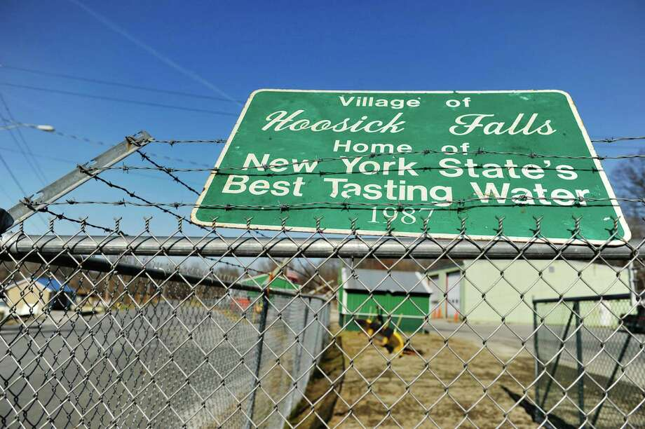 A sign near the water treatment plant on Wednesday, Nov. 25, 2015, in Hoosick Falls, N.Y. (Paul Buckowski / Times Union) Photo: PAUL BUCKOWSKI / 10034431A