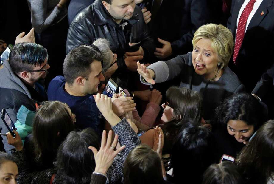 Democratic presidential candidate Hillary Clinton greets supporters during a campaign event at the Old South Meeting House, Monday, Feb. 29, 2016, in Boston. (AP Photo/Elise Amendola) ORG XMIT: MAEA106 Photo: Elise Amendola / AP