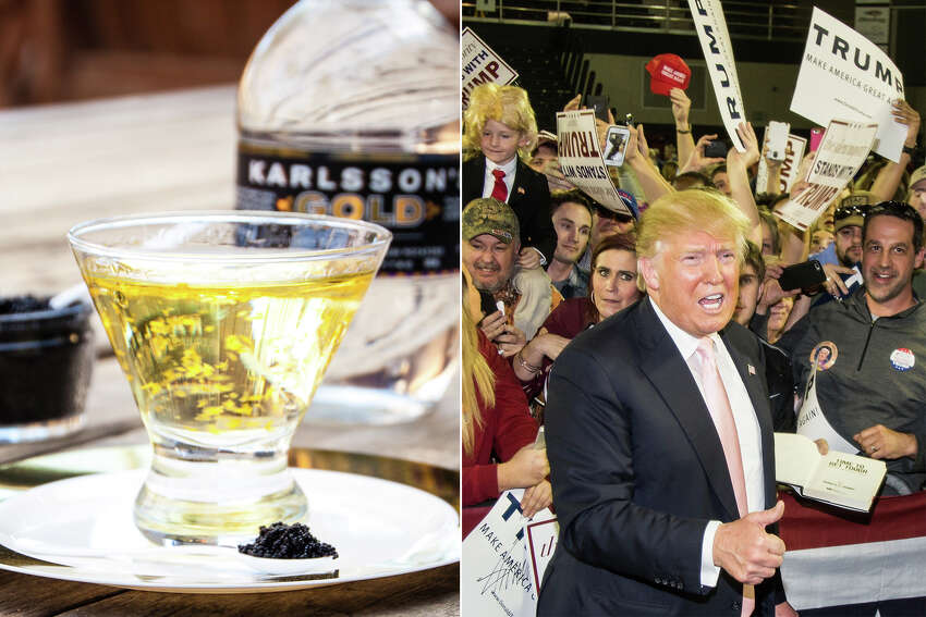 Trumptini A rich blend of Karlsson's Gold Vodka and vermouth dusted in gold flakes, served in a martini glass and accompanied by a gold-rimmed plate of caviar. Trust us, it's a winner. Many people have said it's the best drink they've ever had. Absolutely no foreign ingredients.