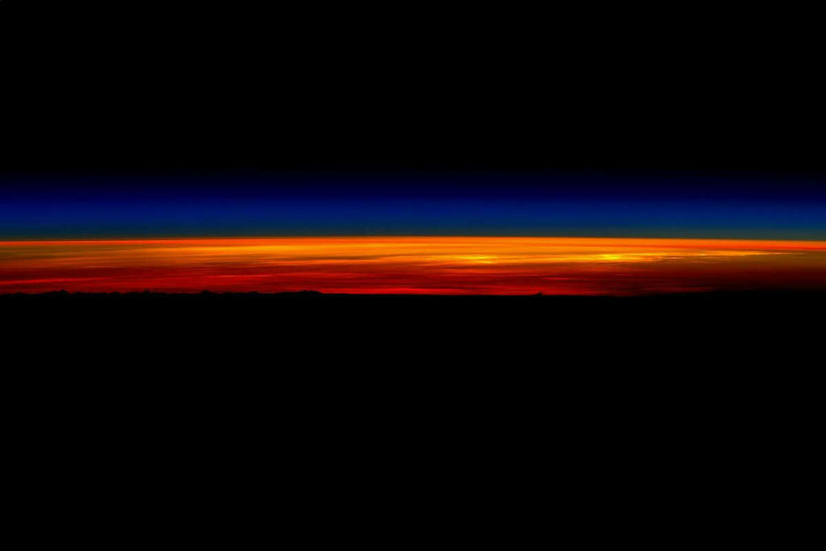 In commemoration of his final day in space, American astronaut Scott Kelly photographed a sunrise from the International Space Station on March 1, 2016. Kelly had spent 340 days on board the ISS as an endurance test to determine the effects of space on the human body.