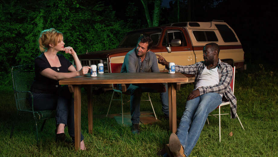 """In the new """"Hap and Leonard,"""" James Purefoy is Hap Collins (center), Michael Kenneth Williams is Leonard Pine and Christina Hendricks is Trudy. Photo: Hilary Gayle/SundanceTV / Hilary Gayle / SundanceTV / © 2015 SundanceTV LLC. All Rights Reserved."""