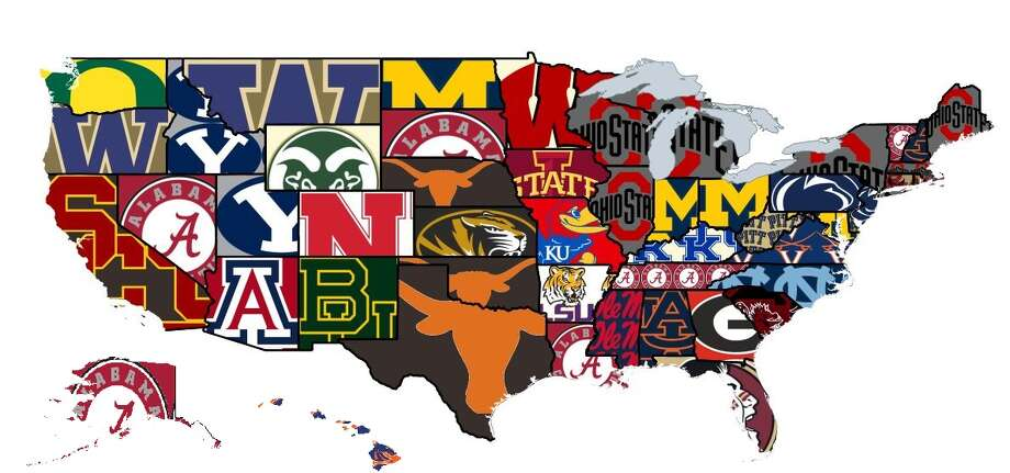 Browse through the photos to see college football's most-hated team by state, according to a Reddit poll. Photo: Reddit