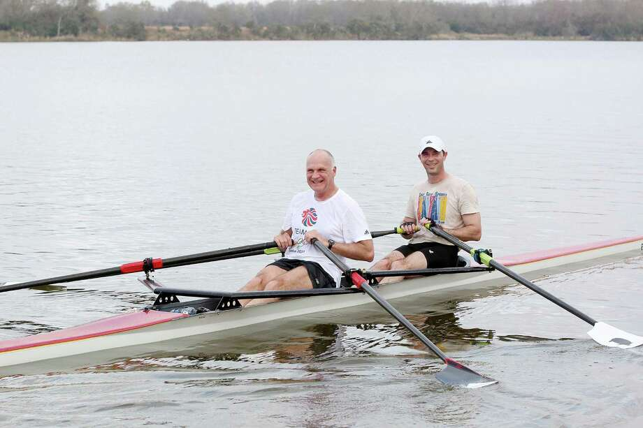 Bay Area Rowing Club member Larry Logan and club president James Macfarlane row on Mud Lake in Clear Lake Park. The group's boats travel Clear Lake and other lakes and tributaries. Photo: Pin Lim, Freelance / Copyright Forest Photography, 2015.