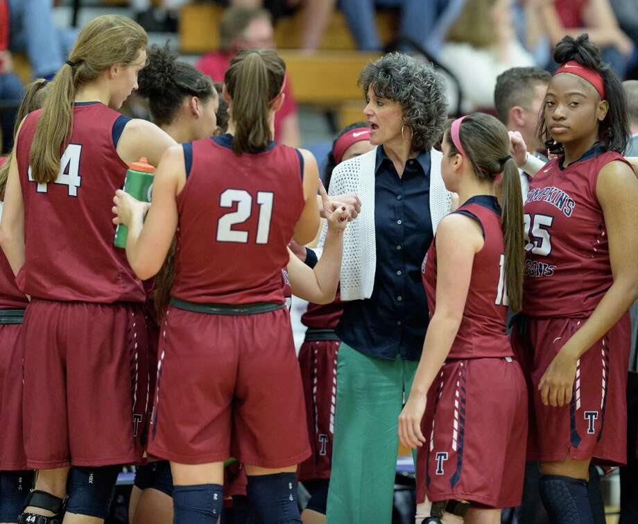 Tompkins Falcons Head Coach, Tammy Ray rallies her team in the first half against the Cy Woods Wildcats in a girls high school basketball game on Friday, February 19, 2016 at the Morton Ranch High School gym. Photo: Wilf Thorne / © 2016 Houston Chronicle