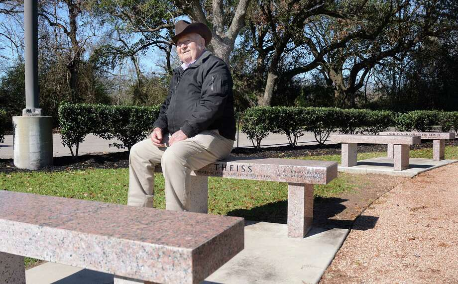 Butch Theiss sits on the Theiss family bench in the Klein ISD memorial garden. Theiss, along with the school board, is encouraging residents to include the Klein name on all letters and postage addresses to help identify the community. Photo: David Hopper, Freelance / freelance