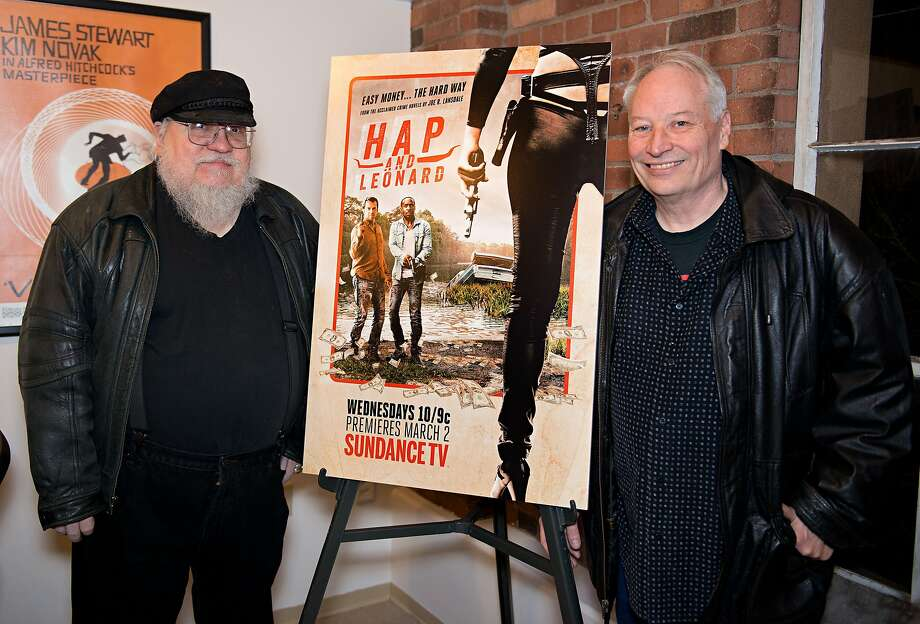 """Shown at a Santa Fe screening: Joe Lansdale (right) is author of the book """"Hap and Leonard,"""" source of a new SundanceTV show. His buddy George R.R. Martin hit the big time earlier with """"Game of Thrones."""" Photo: Steve Snowden, Getty Images For AMC Networks"""