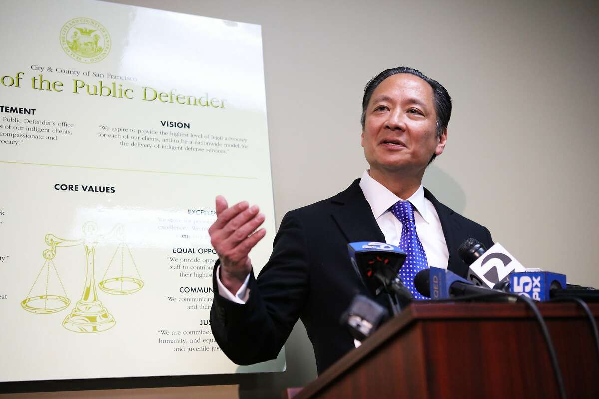 San Francisco Public Defender Jeff Adachi spoke to the media regarding the District Attorney's announcement of criminal charges against deputies who allegedly forced inmates to fight each other, in San Francisco, California, on Wednesday, March 2, 2016.