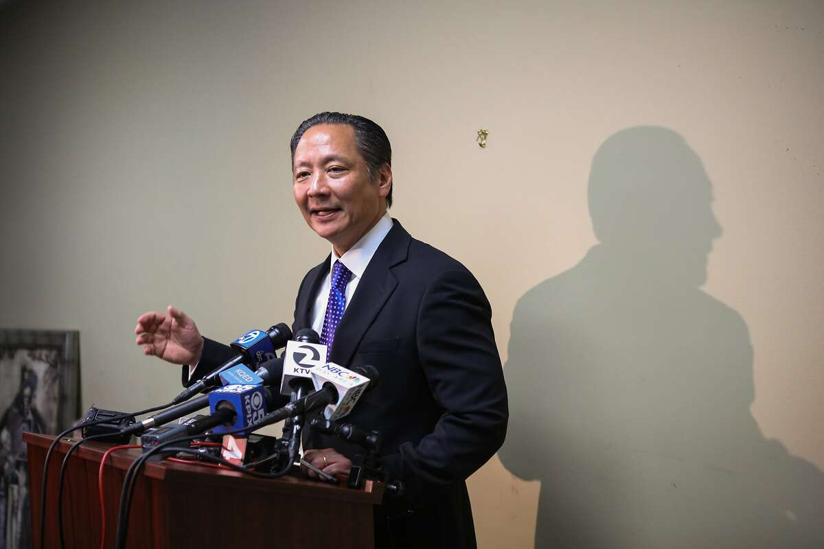 San Francisco Public Defender Jeff Adachi answered questions from the media following the District Attorney's announcement of criminal charges against deputies who allegedly forced inmates to fight each other, in San Francisco, California, on Wednesday, March 2, 2016.