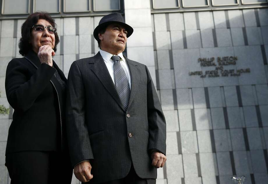 Elvira and Refugio Nieto are introduced in front of the Phillip Burton Federal Building to supporters at a rally demanding justice for their son Alex in San Francisco, Calif. on Tuesday, March 1, 2016. Jury selection and opening arguments were scheduled to get underway Tuesday in a federal civil rights trial against four police officers who shot and killed Alex Nieto in Bernal Heights Park nearly two years ago. Photo: Paul Chinn, The Chronicle