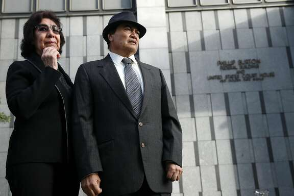 Elvira and Refugio Nieto are introduced in front of the Phillip Burton Federal Building to supporters at a rally demanding justice for their son Alex in San Francisco, Calif. on Tuesday, March 1, 2016. Jury selection and opening arguments were scheduled to get underway Tuesday in a federal civil rights trial against four police officers who shot and killed Alex Nieto in Bernal Heights Park nearly two years ago.