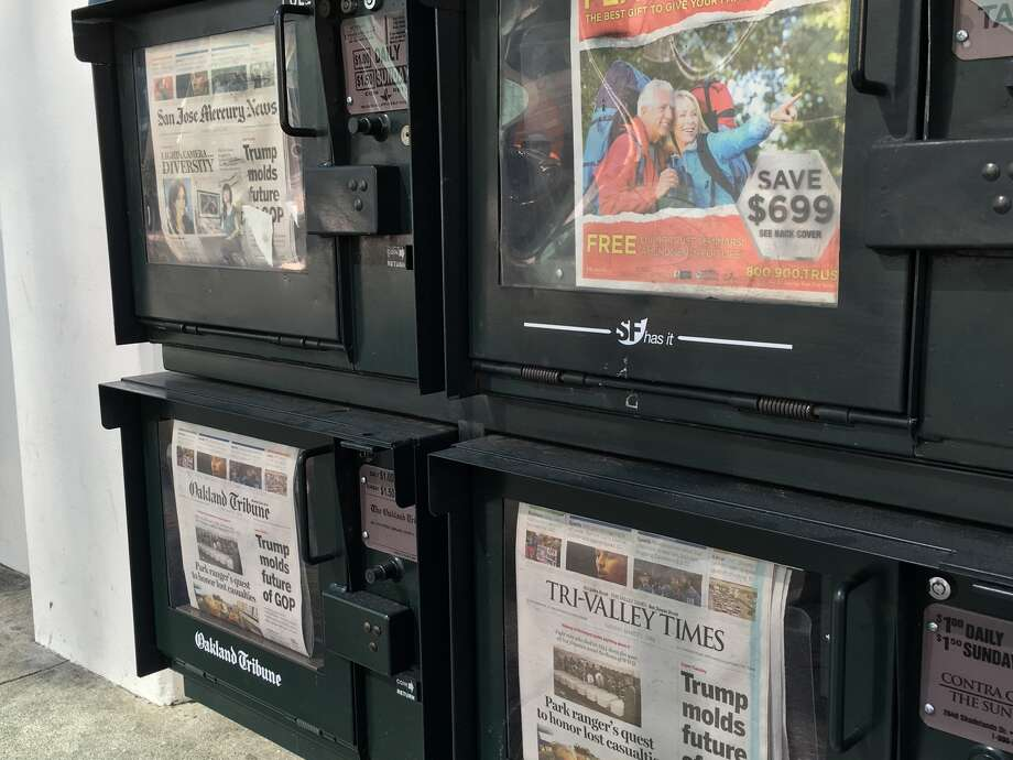 Copies of the San Jose Mercury News, Contra Costa Times, and Oakland Tribune for sale in San Francisco on March 1, 2016. The Bay Area News Group, which owns the papers, announced an organizational shakeup, reducing all its newspapers to two.  Photo: Greg Keraghosian