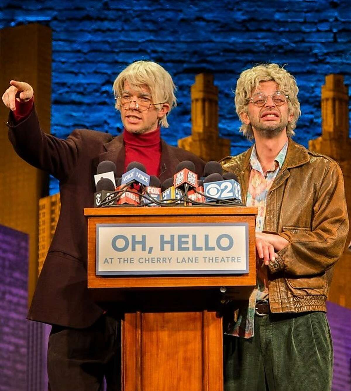 """Comedians John Mulaney and Nick Kroll in character for their show, """"Oh Hello."""" credit: Christian Frarey)"""