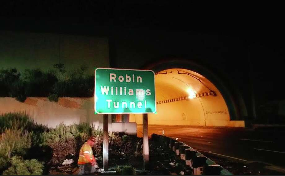 The new Robin Williams Tunnel sign was installed February 29 at the site of the tunnel connecting the Golden Gate Bridge to Marin County. The tunnel was previously only unofficially known as the Waldo Tunnel. (Photo courtesy Andrew Payne.)
