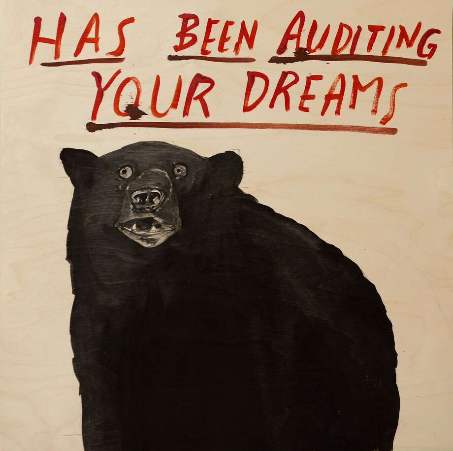 """""""Has Been Auditing Your Dreams,"""" left, and """"Workers VI,"""" above, are among the works included in the """"Dave Eggers: Idaho"""" exhibit through May 7 at Jules Maeght Gallery. Photo: Courtesy Of Jules Maeght Gallery"""