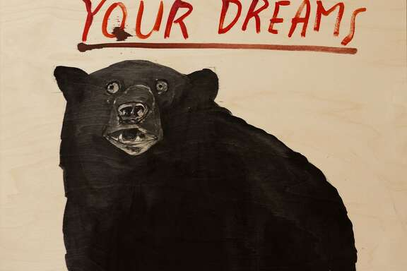 """Dave Eggers' 24-by-24-inch acrylic on wood """"Has Been Auditing Your Dreams"""" (2015) is in """"Dave Eggers: Idaho"""" through May 7 at Jules Maeght Gallery."""