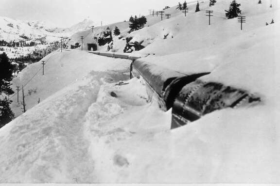The train City of San Francisco Streamliner  was stuck in snow drifts near Yuba Pass in the Sierra Nevada for 4 days. Ken McLaughlin used skis and snow shoes to get to the train long before any other journalists