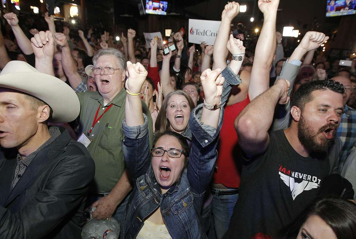 Supporters of Republican presidential candidate, Sen. Ted Cruz (R-TX) celebrate at a Super Tuesday watch party at the Redneck Country Club March 1, 2016 in Stafford, Texas. Cruz won the primary in Texas, his home state.